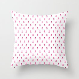 HOT PINK SKULLS ALL OVER PRINT Throw Pillow