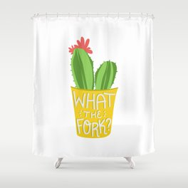 what the fork? cactus (The Good Place) Shower Curtain