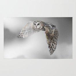 flying owl (tyto alba) Rug
