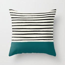 Dark Turquoise & Stripes Throw Pillow
