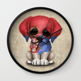 Cute Puppy Dog with flag of Serbia Wall Clock