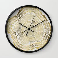 black Wall Clocks featuring Gold Tree Rings by Cat Coquillette