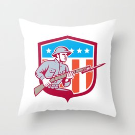 World War One Soldier American Retro Shield Throw Pillow