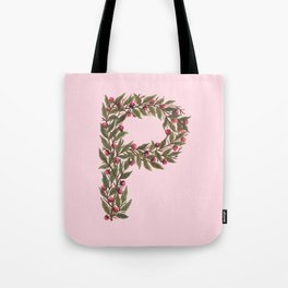 Leafy Letter P Tote Bag