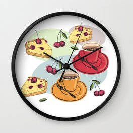 Cherry Pie And A Hot Cup Of Coffee Wall Clock
