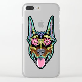 Doberman with Cropped Ears - Day of the Dead Sugar Skull Dog Clear iPhone Case