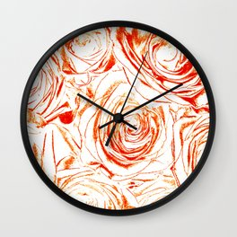 Roses // Wedding Flowers, Abtract Minimalist Art Wall Clock