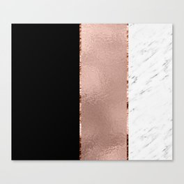Rose metallic striping - marble and onyx Canvas Print