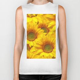 Yellow Mellow Sunflower Bouquet #decor #society6 #buyart Biker Tank