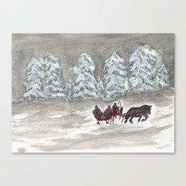 Snowy Sleigh Ride Canvas Print