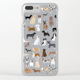 Mixed Dog lots of dogs dog lovers rescue dog art print pattern grey poodle shepherd akita corgi Clear iPhone Case
