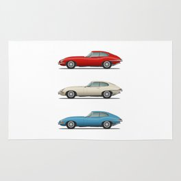 Jaguar E Type Fixed Head Coupe Red White and Blue Rug