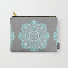 Teal and Aqua Lace Mandala on Grey Carry-All Pouch