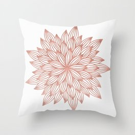 Mandala Flowery Rose Gold on White Throw Pillow