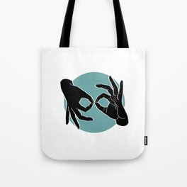 Sign Language (ASL) Interpreter – Black on Turquoise 00 Tote Bag