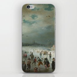 Skating on the Frozen Amstel River by Adam van Breen, 1611 iPhone Skin