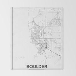 Minimal City Maps - Map Of Boulder, Colorado, United States Throw Blanket