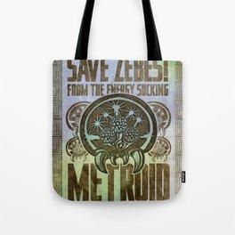 Save Zebes! Metroid Geek Art Vintage Poster Tote Bag