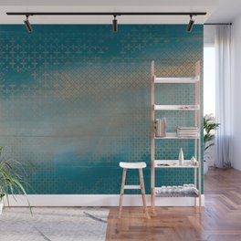 ABUR with Gold on Turquoise Wall Mural