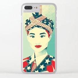 """Hmong Woman (original, full color) """"Peb Cov Neeg Txawj Sib Pab"""" Clear iPhone Case"""