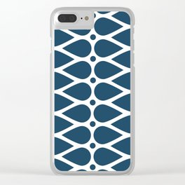 Geometric teardrop teal pattern Clear iPhone Case