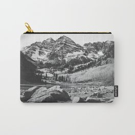 Maroon Bells Black and White Carry-All Pouch