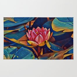Painted Waterlily Rug