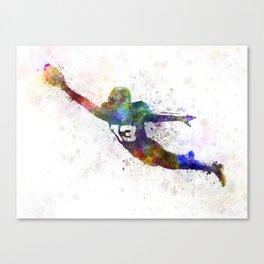 american football player scoring touchdown Canvas Print