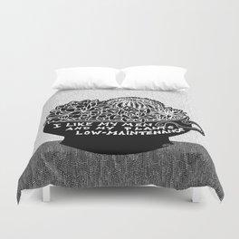 Lo-Maintenance Men & Cacti Black and White Trendy Illustration Duvet Cover