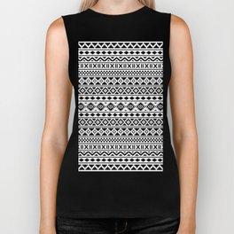 Aztec Essence Pattern Black on White Biker Tank
