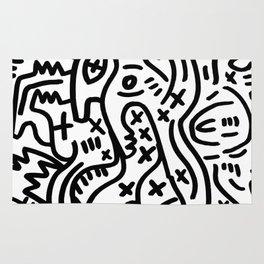 Graffiti Street Art Black and White Rug
