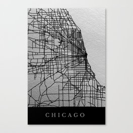 Black and white Chicago map Canvas Print