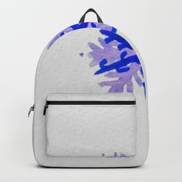WATERCOLOR SNOWFLAKE 5 - blue and purple palette Backpack