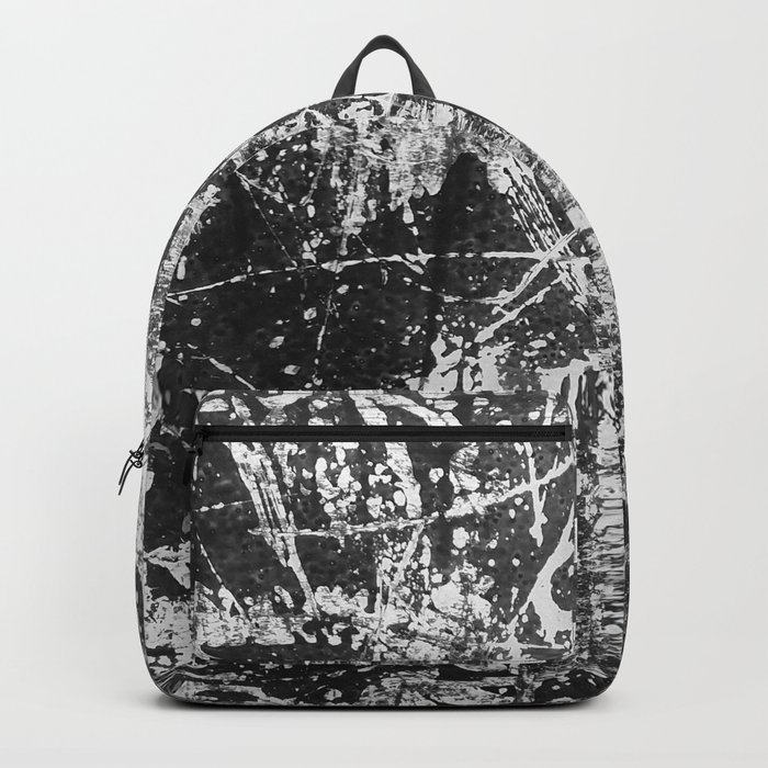 black abstract mono graffiti texture pattern Backpack