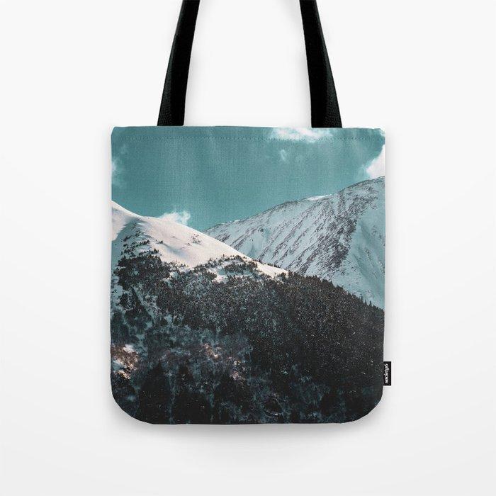 Snowy Mountains Under Teal Sky - Alaska Tote Bag