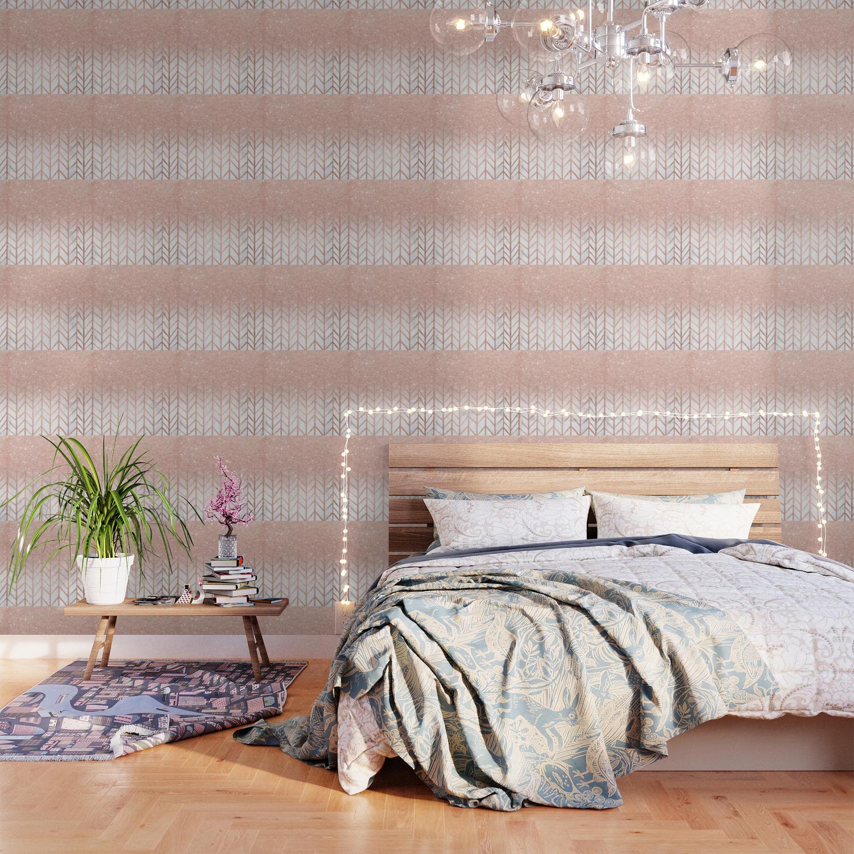 Modern Rose Gold Glitter Ombre Herringbone Chevron Pattern On White Marble Wallpaper By Girlytrend Society6