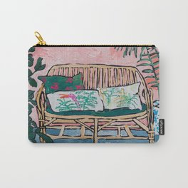 Rattan Bench in Painterly Pink Jungle Room Carry-All Pouch