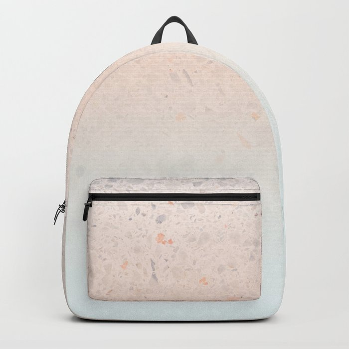 Terrazzo Pastel Colors Soft Fading Gradient Peach+Baby Blue Backpack