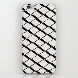 Modern Diamond Lattice Black on Light Gray iPhone Skin