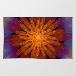 Fiery Fantasy Flower, fractal abstract Rug