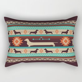 Boho dogs | Smooth Dachshund sunset Rectangular Pillow