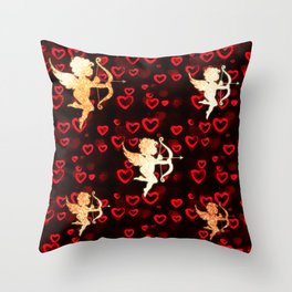 Cupids and Hearts Throw Pillow