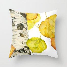 Falling Aspen Leaves Throw Pillow