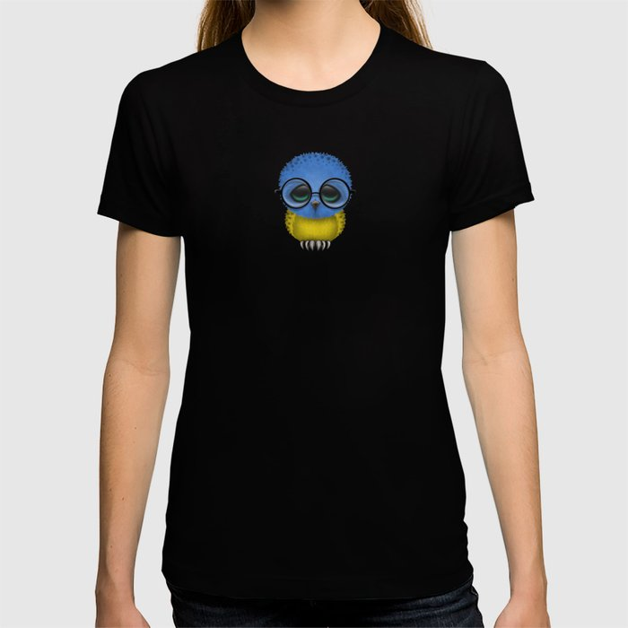 Baby Owl with Glasses and Ukrainian Flag T-shirt