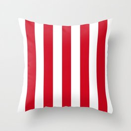 Chinese red - solid color - white vertical lines pattern Throw Pillow