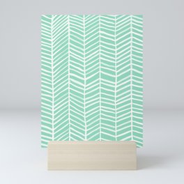 Herringbone – Mint & White Palette Mini Art Print