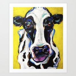 Yellow Dairy Cow Art Print