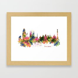 Barcelona Watercolor Skyline Framed Art Print