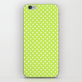 Bright green background with polka dot iPhone Skin