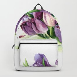 Watercolor bouquet of tulips Backpack